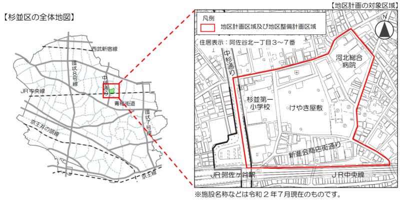 2021年現在の阿佐ヶ谷駅北東部