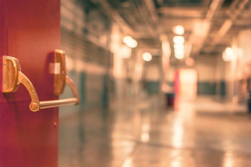 selective focus photography of red door
